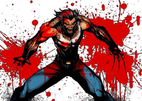 WOLVERINE - BLOOD SPLAT ART canvas print - self adhesive poster - photo print